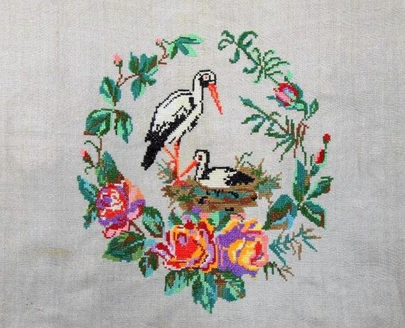 Perfect vintage ukrainian embroidery storks s hand