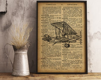 Airplane Print, Dictionary Art Print, Aircraft illustration vintage style, Aircraft decor, Pilot Gift, Aviator Gift,  Aviation Art (A06)
