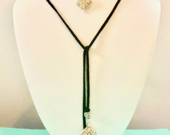 Wrap around choker necklace, suede lariat with silver charms, Ellie's Belles