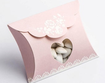 Pack of 10 Pink Shabby Chic Bustina with Heart Window Wedding Favour Boxes