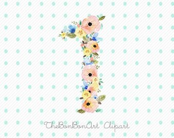 flower numbers watercolor clipart. floral numbers watercolor clipart. number one clipart. 1 watercolor clipart. number 1 clipart.
