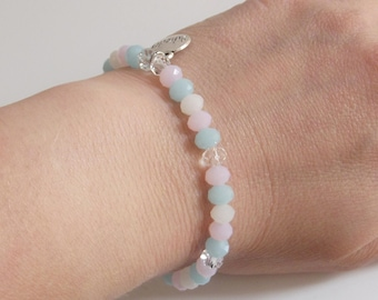 "Delicate bracelet in pastel shades of faceted jade beads and clear glass beads charm ""Miracles"""