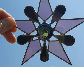 Stained glass Suncatcher star flower in purple mauve and black handmade