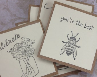 All Occasions Note Cards/Mini Cards/3X3 Card Sets/Set of 8/With Envelopes and Evenlope Seals/Stickers