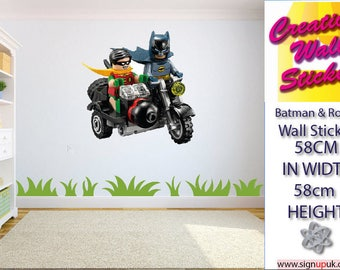 Lego Batman and Robin Wall Stickers Kids Bedroom Art Children's Decal Mural.
