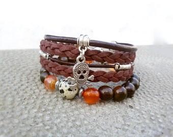 Men Skull bracelet Stacking bracelet for Him Leather bracelet set Unisex jewelry Brown Hipster bracelet Sandalwood stretch bracelet for Man