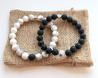 Couples Bracelet Set or Stacking with Contrasting Howlite & Matte Black Onyx Girlfriend Boyfriend Custom Fit Made In UK
