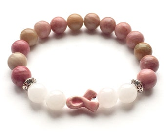 Breast Cancer Awareness Pink Ribbon Jewellery Bracelet Made With Beautiful Rhodonite And White Jade Gemstone Beads