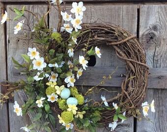 Blue Bird Blossom Wreath