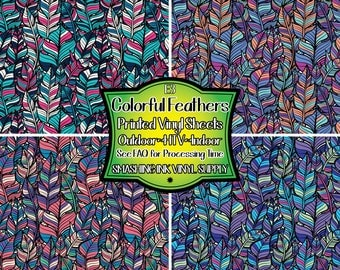 Colorful Feathers Vinyl/Printed Heat Transfer Vinyl/Patterned Vinyl/Printed 651 Vinyl/Printed 631 Vinyl/Printed Outdoor Vinyl/Printed HTV