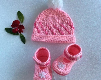 Rosey Pink  / White Baby Girl Beanie and Shoe Set