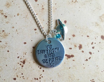 To Infinity and Beyond - Hand Stamped Charm Necklace or Keyring