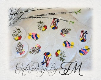 Set Easter doily and coasters / doily - 5x7 hoop and coasters 4x4 hoop/ machine embroidery designs