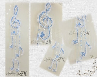 Lace Treble clef and music notes / 5x7 hoop