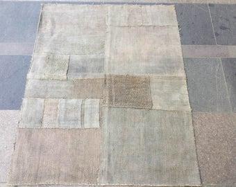 3'3x4'2 feet,Turkish kilim rug,patchwork kilim,patchwork rug,ICE BLUE,Hemp kilim,Boro Technique,128x102cm, Hemp rug,Turkish Carpet,large rug