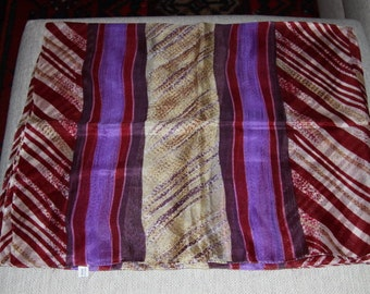 Silk rectangular scarf, pareo with larges stripes. EC13