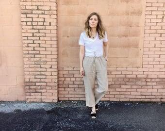 Vintage Linen Drawstring Pants // size S