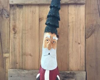 Hand Carved Wooden Santa