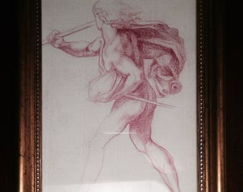 Old Master Study of a man figure on laid paper, signed