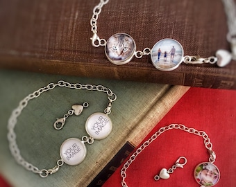 Cool Personalized Gifts, Picture Charm Bracelet, Personalized Photo Jewelry, Custom Charm Bracelets