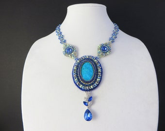 Bead Embroidery, Bead Woven, Crystal Turquoise Necklace, Beaded Crystal Necklace, Bead Embroidered Jewelry, Bead Woven Jewelry