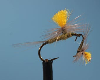 """3-pack """"Parachute BWO"""" flies, Blue Wing Olives, Trout flies, Mayflies, dry flies, hand tied flies, parachute dry flies"""