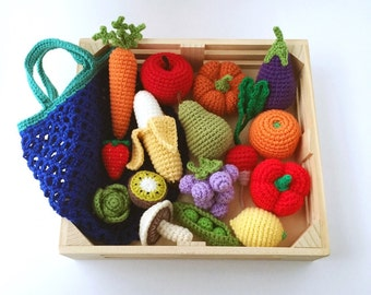 Crochet Play Food, Vegetables and Fruits Set with Market Bag, Pretend Play, Amigurumi Toy. Free Shipping to Canada