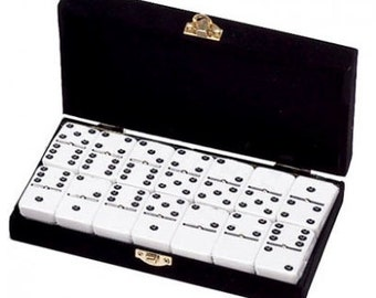 White Dominoes in Velvet Box with Spinner