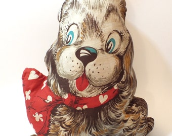 Vintage Dog Fabric Pillow Cranston Cut & Sew  Handmade 1960's Plush Puppy Doggy Red Collar