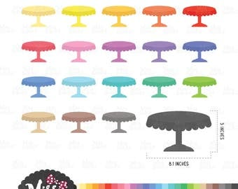 30 Colors Cake Stand Clipart - Instant Download