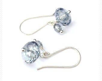 sterling silver earrings, silver earrings, blue earrings, blue crystal earrings, gift for her, crystal earrings, Sterling silver, sky blue
