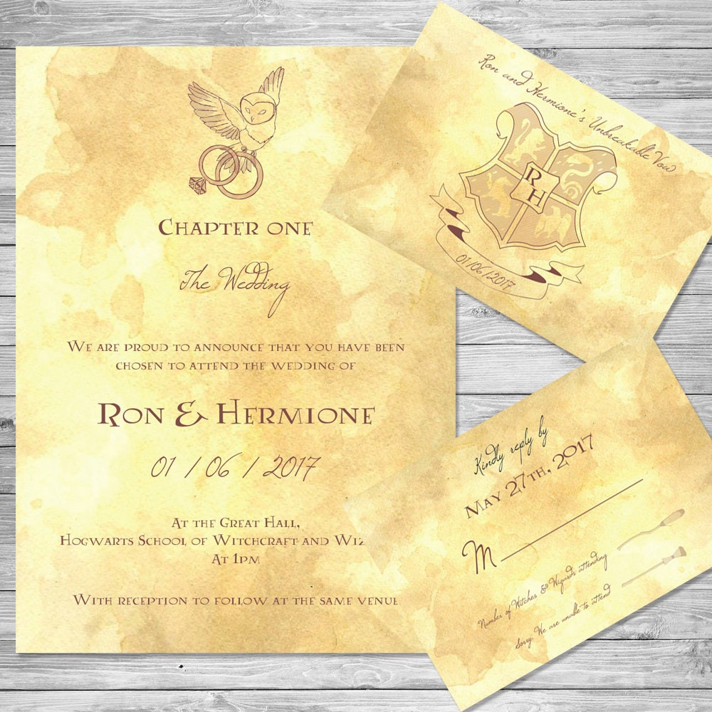 harry potter wedding invitations harry potter wedding invitation set owl digital 4735