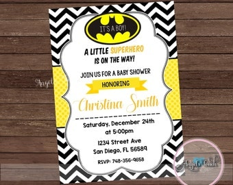 Super Hero Baby Shower Invitation, Batman Baby Shower Invitation, Batman Baby Shower, Super Hero Invitation, Batman Invitation, Digital File