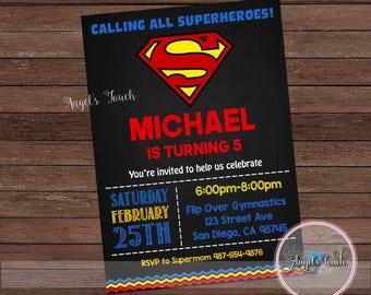 Superman Party Invitation, Superhero Superman Invitation, Superman Boy Birthday Invitation, Superhero Boy Invitation, Superman, Digital File
