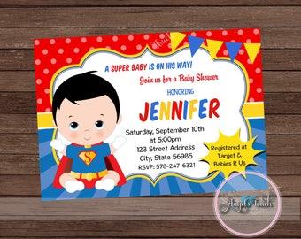 Superhero Baby Shower Invitation, Superman Baby Shower Invitation,  Superheroes Baby Shower, Superman Baby