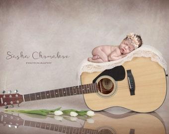 digital backdrop  background newborn baby  girl guitar