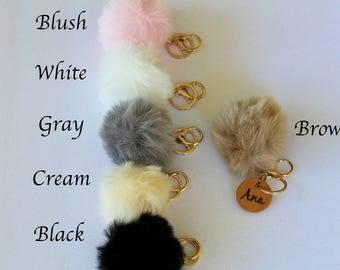 Pom pom keychain, pom pom key chain, fur pom pom keychain, fur keychain, faux fur keychain, bag accessories keychain, fur pom pom