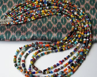 Africa Mixed Glass Bead 5 Strand Necklace E 07