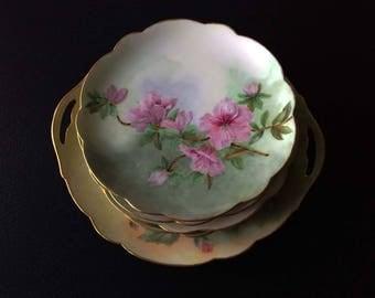 "Vienna Austrian dessert / cake plates 6 matching 7 5/8"" signed, With master cake plate"