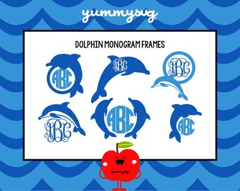 Monogram Frame SVG - Dolphin SVG - Nautical Monogram SVG - Dolphin Monogram - Monogram Circle - Studio3 - svg files - png files