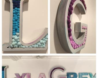 Hand painted Pom-pom letters