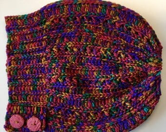 Crochet Hat, Beanie, Slouchy hat, Woman accessory, variegated colors