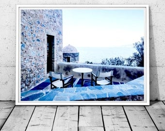 Greece Photography, Ocean print, Blue and White Photography, Nautical Wall Decor,mediterranean wall art,Monemvasia print, Digital Download