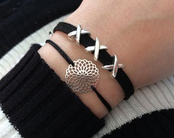 Bracelet made of suede faux black/silver