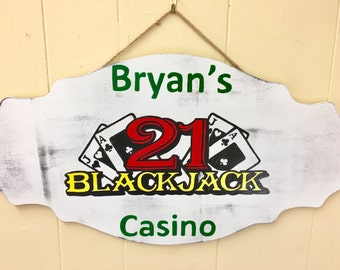 Personalized Casino Sign, Blackjack Sign, Game room sign, painted sign, custom sign, hand painted sign, wall hanging, wall decor