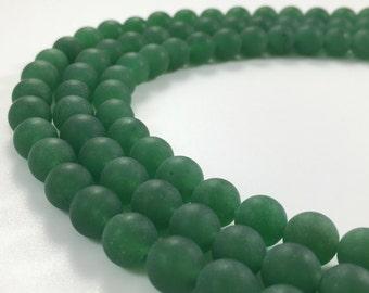 1Full Strand Matte Green Jade Round Beads , Wholesale 8mm 10mm Jade Gemstone For Jewelry Making
