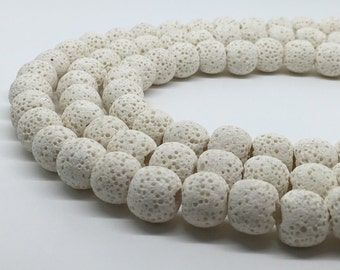 1Full Stran Natural Cream Lava Round Beads ,8mm 10mm Wholesale Gemstone For Jewelry Making
