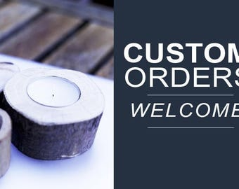 CUSTOM ORDERS AVAILABLE! Rustic Tea Light Candle Holders + Personalized Text