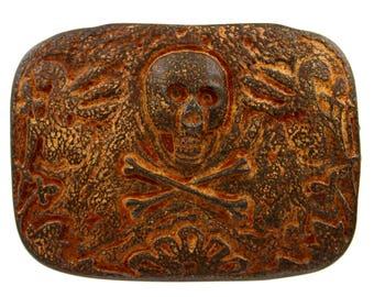 Skull Belt Buckle Skull Crossbones Vintage Old Copper Skull Rust Pirate Belt Buckle Skull Crossbones Belt Buckle Steampunk Belt Buckle