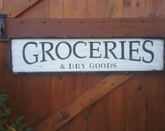 Distressed Farmhouse Style Hand Painted GROCERIES Wood Framed Sign LARGE 3' General Store